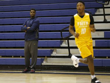 Athletic director and head coach Brandon Thomas watches as Trae Clayton (10) runs through a drill during practice at Oak Cliff Faith Family Academy in Dallas on Wednesday, March 6, 2019. Faith Family Academy will be competing in the 4A boys basketball state tournament this weekend. (Vernon Bryant/The Dallas Morning News)