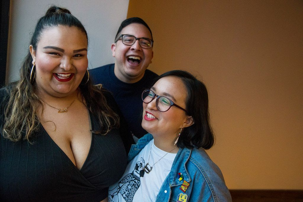 From left, De Colores Collective co-founders Eva Arreguin, Rafael Tamayo and Patricia Arreguin pose for a photograph at Oak Cliff Cultural Center in Dallas on Oct. 4, 2018. The trio has been giving Latino artists and members of the LGBTQ community an opportunity to put on art shows and music events. They also produce a podcast.