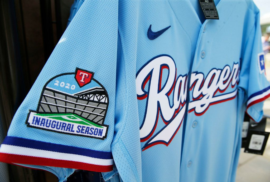 Detail of the new Texas Rangers powder blue jersey during the unveiling of the 2020 uniforms at Live! next to Globe Life Field in Arlington, Texas on Wednesday, December 4, 2019.