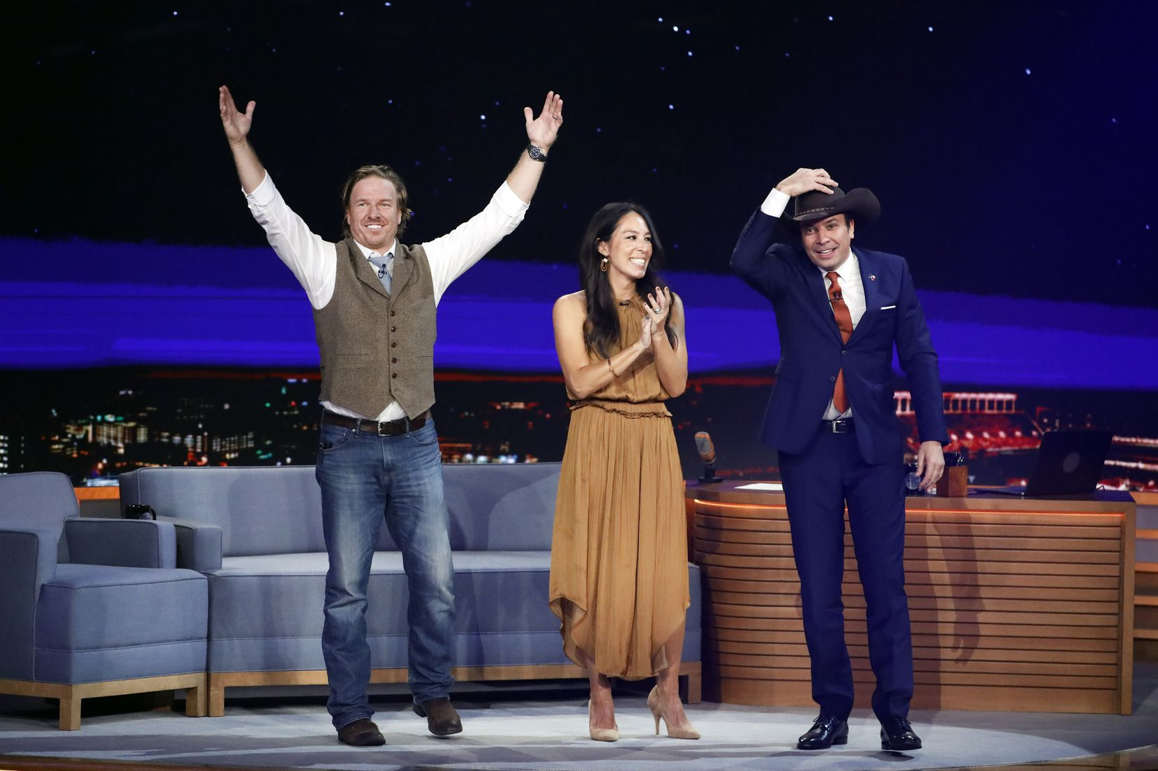 Chip Gaines taught Jimmy Fallon to two-step at a taping Nov. 7, 2019 in Austin. During the same talk, Joanna Gaines announced she'll have a new cooking show on their Magnolia network.