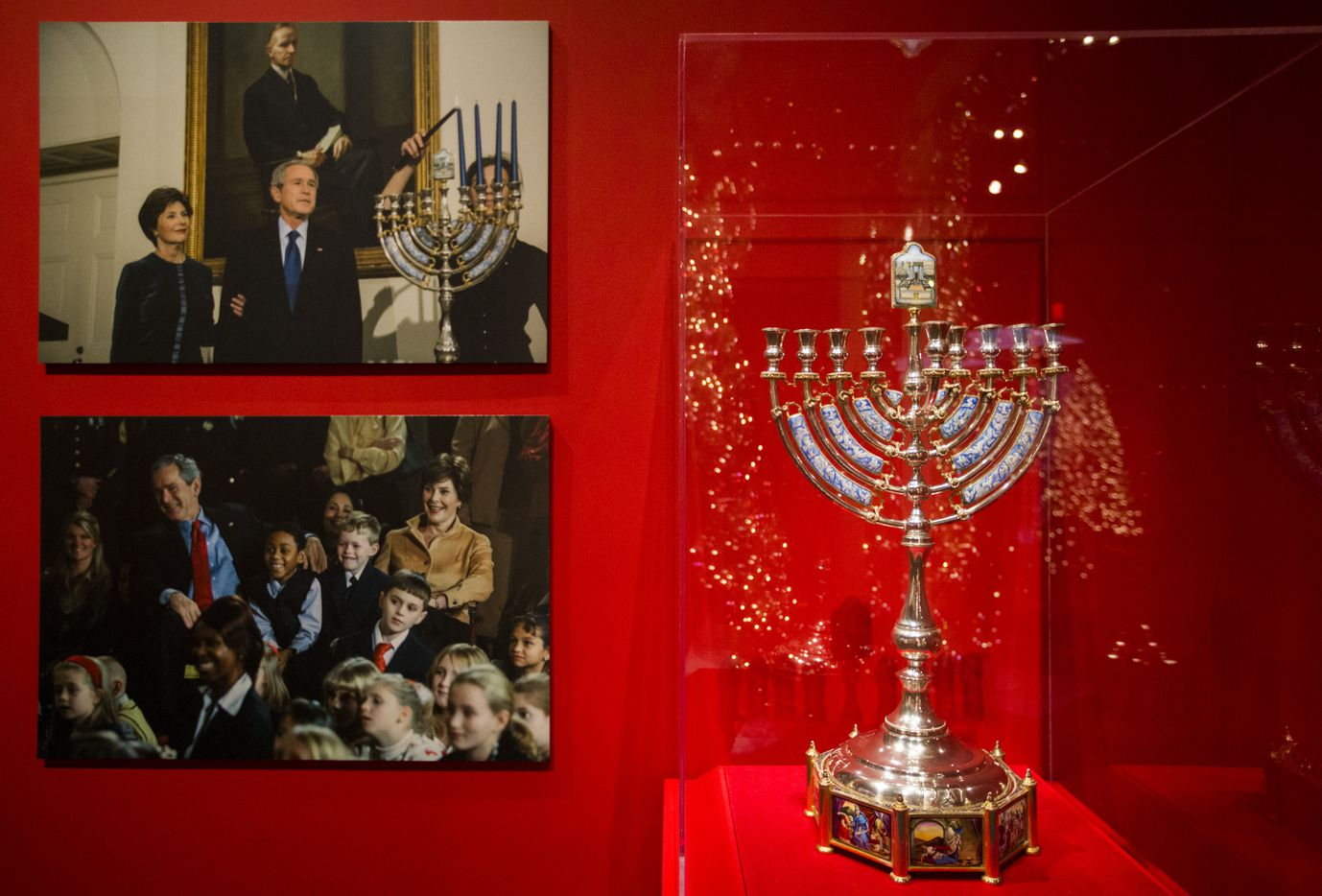 A handmade silver Hanukkah lamp borrowed from Lisa and Alan Stern is displayed at a Christmas exhibit at The George W. Bush Presidential Center and Library on Thursday, November 15, 2018 on the SMU campus in Dallas. This year's theme is Deck the Halls and Welcome All: Christmas at the White House 2006. (Ashley Landis/The Dallas Morning News)