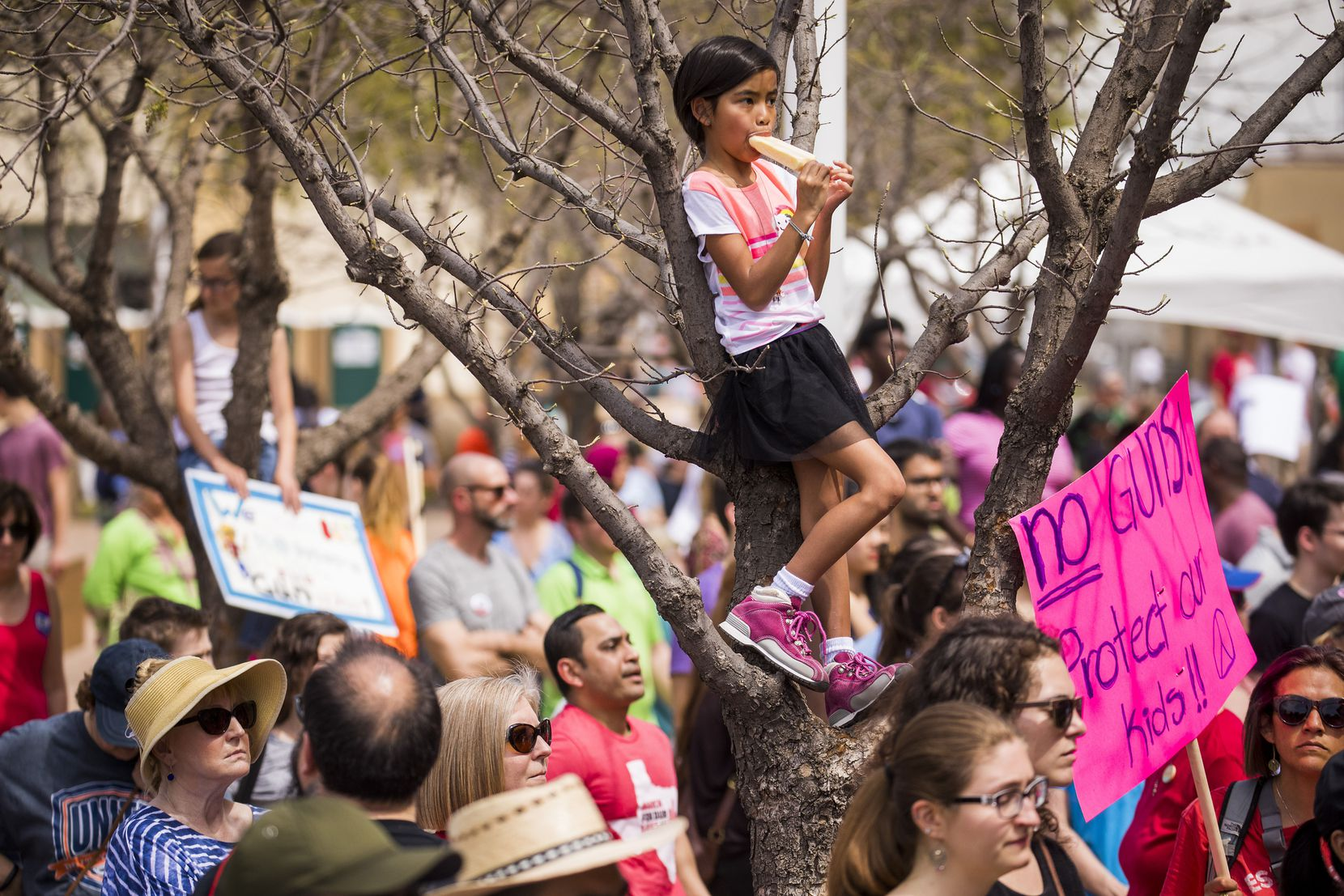 Isabelle Garcia-Chu, 8, of Richardson, stands in a tree while eating a popsicle and listening to speakers.