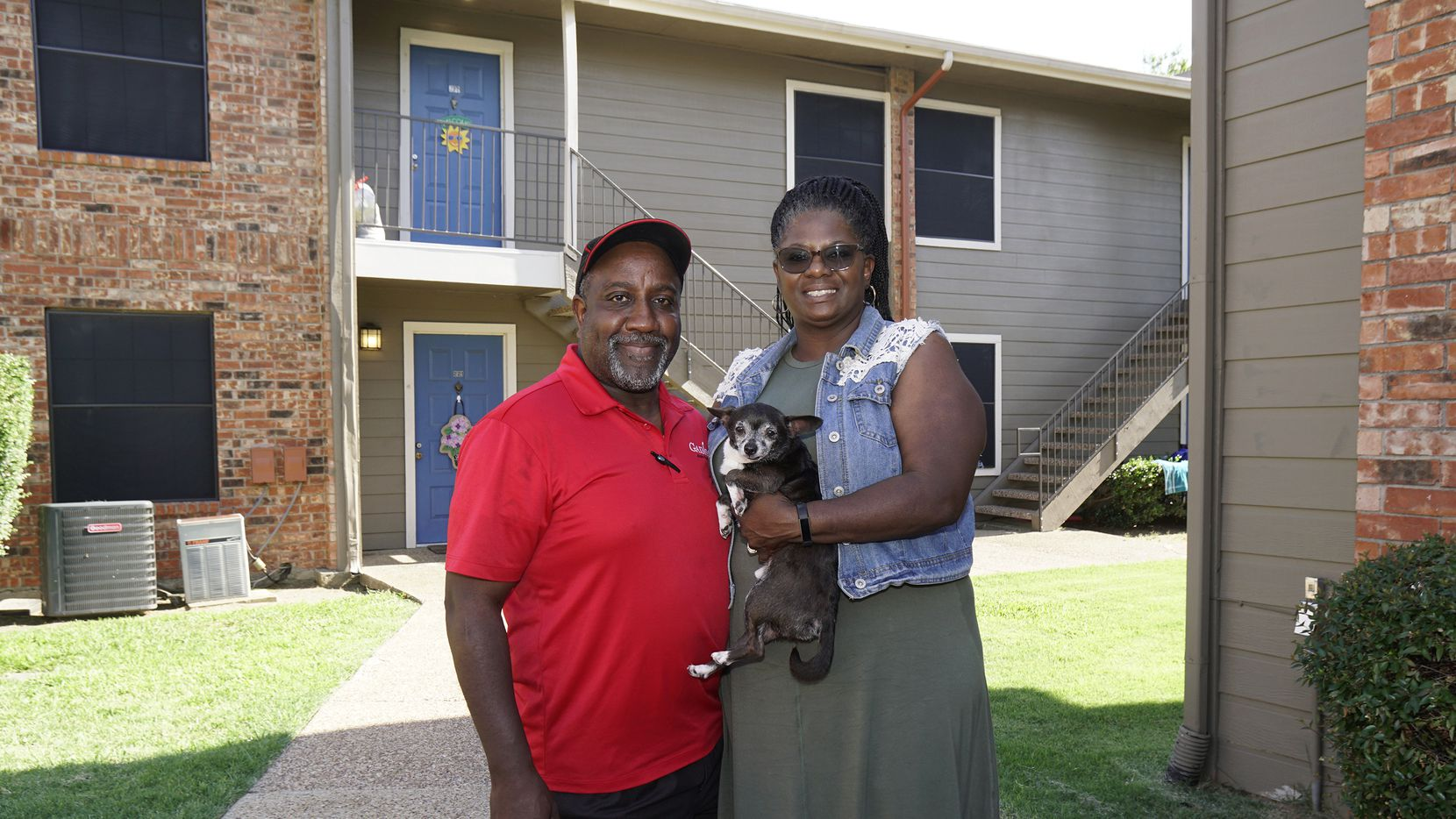 Carlon and Mary Shelton, with their dog Pickles, downsized to a three-bedroom, two-bath apartment in Irving after 28 years as homeowners. Without the maintenance and upkeep cost of a house, they save more money and do more for their children.