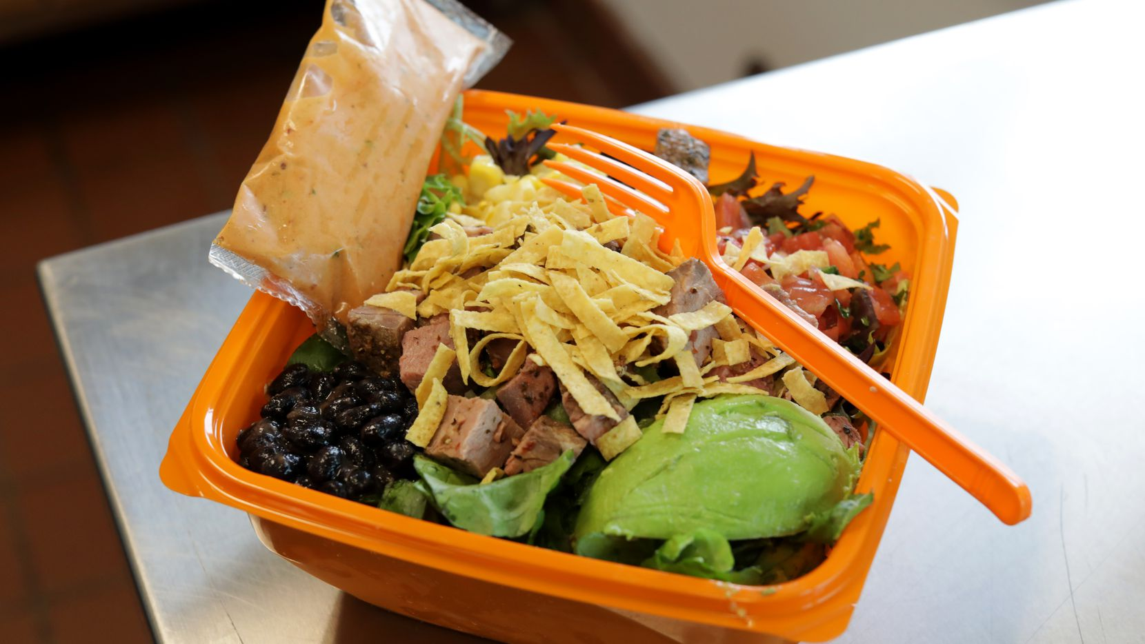The Barbecue Ranch with Steak is one of about 10 salad options at Salad And Go. The first shop outside of Arizona opened in Plano on May 5, 2021. Salad and Go stores are expected to open in Plano, Richardson, Dallas and Fort Worth.