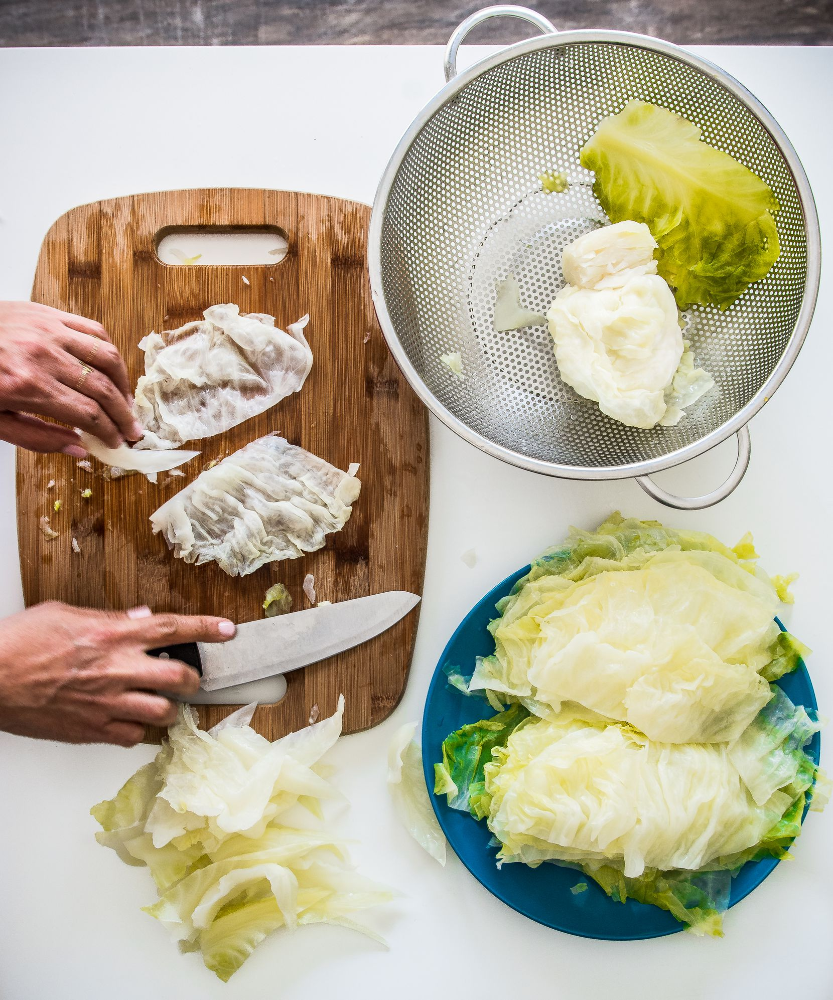 Tamara Abuomar prepares cabbage in her kitchen in Plano.