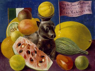"""Frida Kahlo, """"Still Life,"""" 1951, oil on masonite, Private Collection, Courtesy Galer a Arvil.   2021 Banco de M xico Diego Rivera Frida Kahlo Museums Trust, Mexico, D.F. / Artists Rights Society (ARS), New York"""