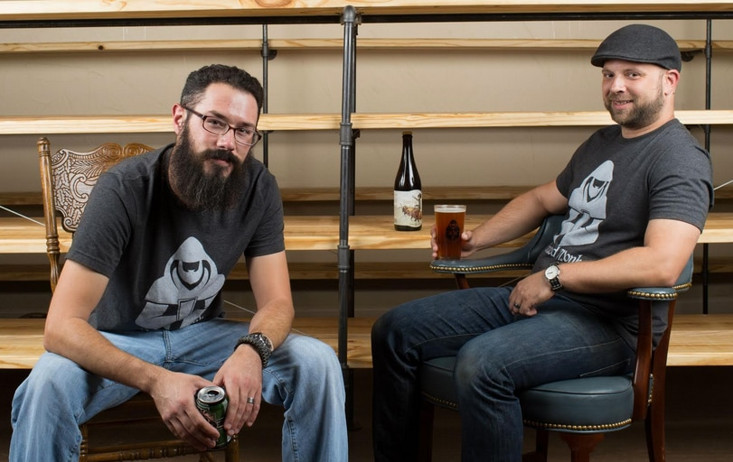 Ben Esely, left, and Ben Webster, right, of the Bearded Monk in Denton.