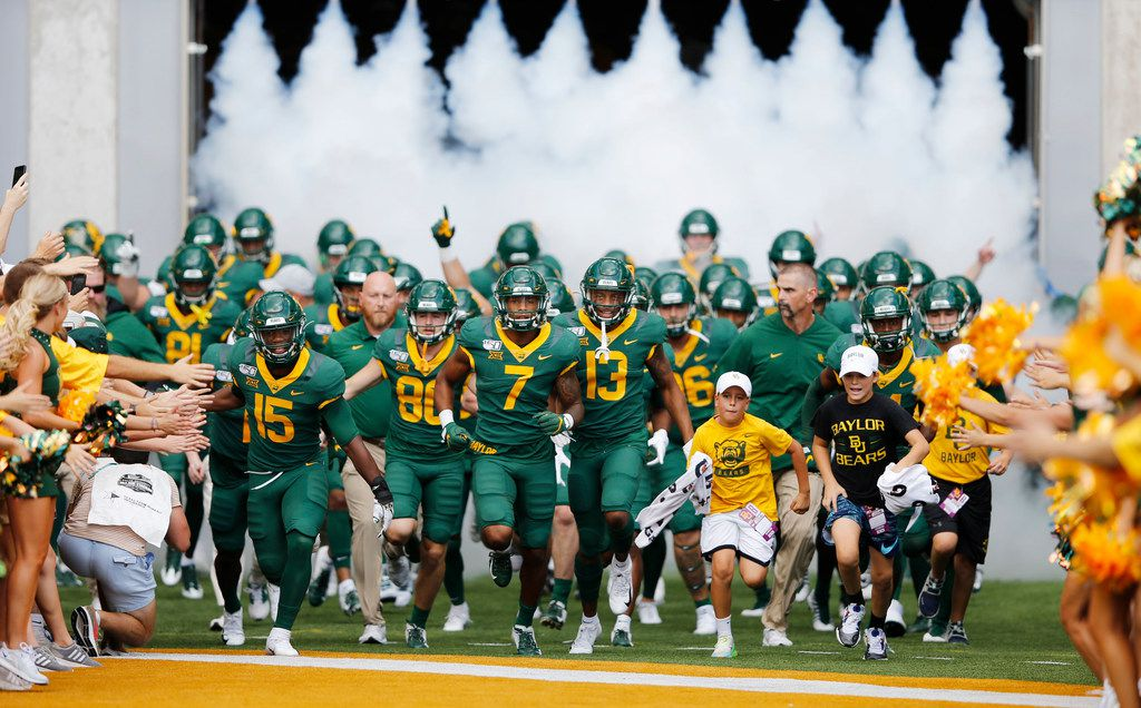 Baylor Bears football team takes the field before playing  Iowa State Cyclones at McLane Stadium in Waco, Texas on Saturday, September 28, 2019. (Vernon Bryant/The Dallas Morning News)