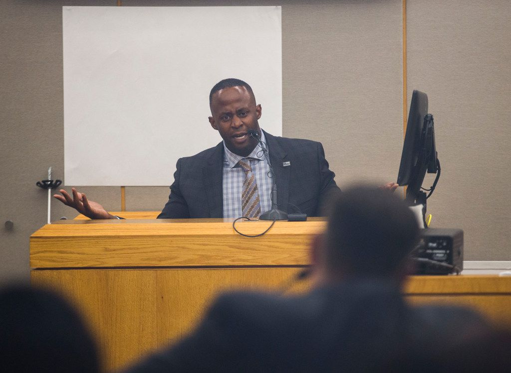 Former Mesquite police officer Derick Wiley is cross-examined by prosecutor Bryan Mitchell during his second trial on Thursday, July 18, 2019  in Dallas. Wiley shot an unarmed man twice in the back when he thought the victim was stealing his own truck.