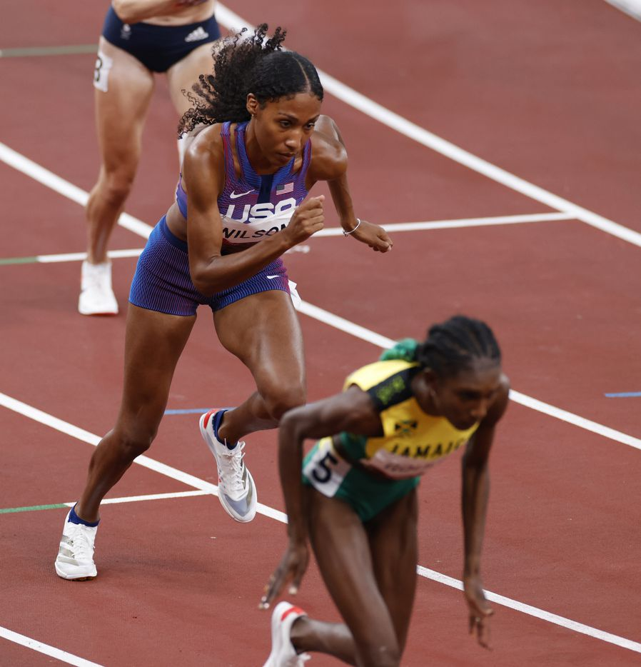 USA's Ajee Wilson competes in the women's 800 meter semifinal race during the postponed 2020 Tokyo Olympics at Olympic Stadium, on Saturday, July 31, 2021, in Tokyo, Japan. Wilson finished fourth with a time of 2:00.79. (Vernon Bryant/The Dallas Morning News)