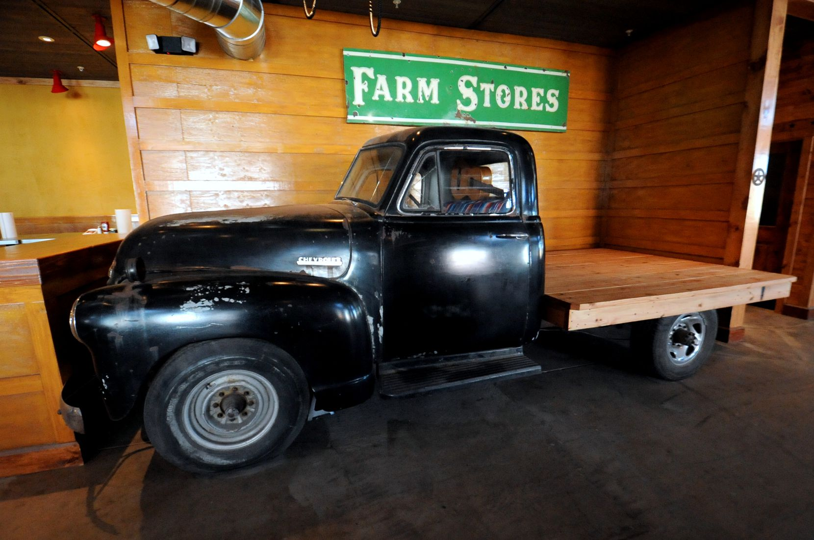 This recycled 1951 Chevrolet truck serves as a stage for local musicians to play at Ten 50 BBQ in Richardson.