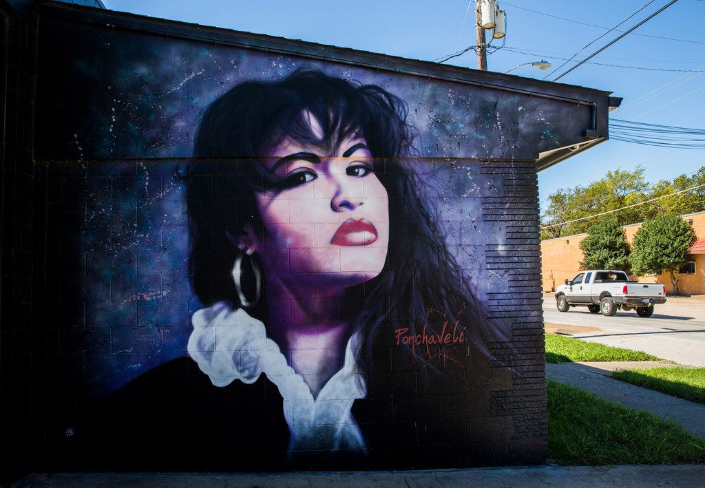 A mural of singer Selena is displayed at 914 W. Commerce St.