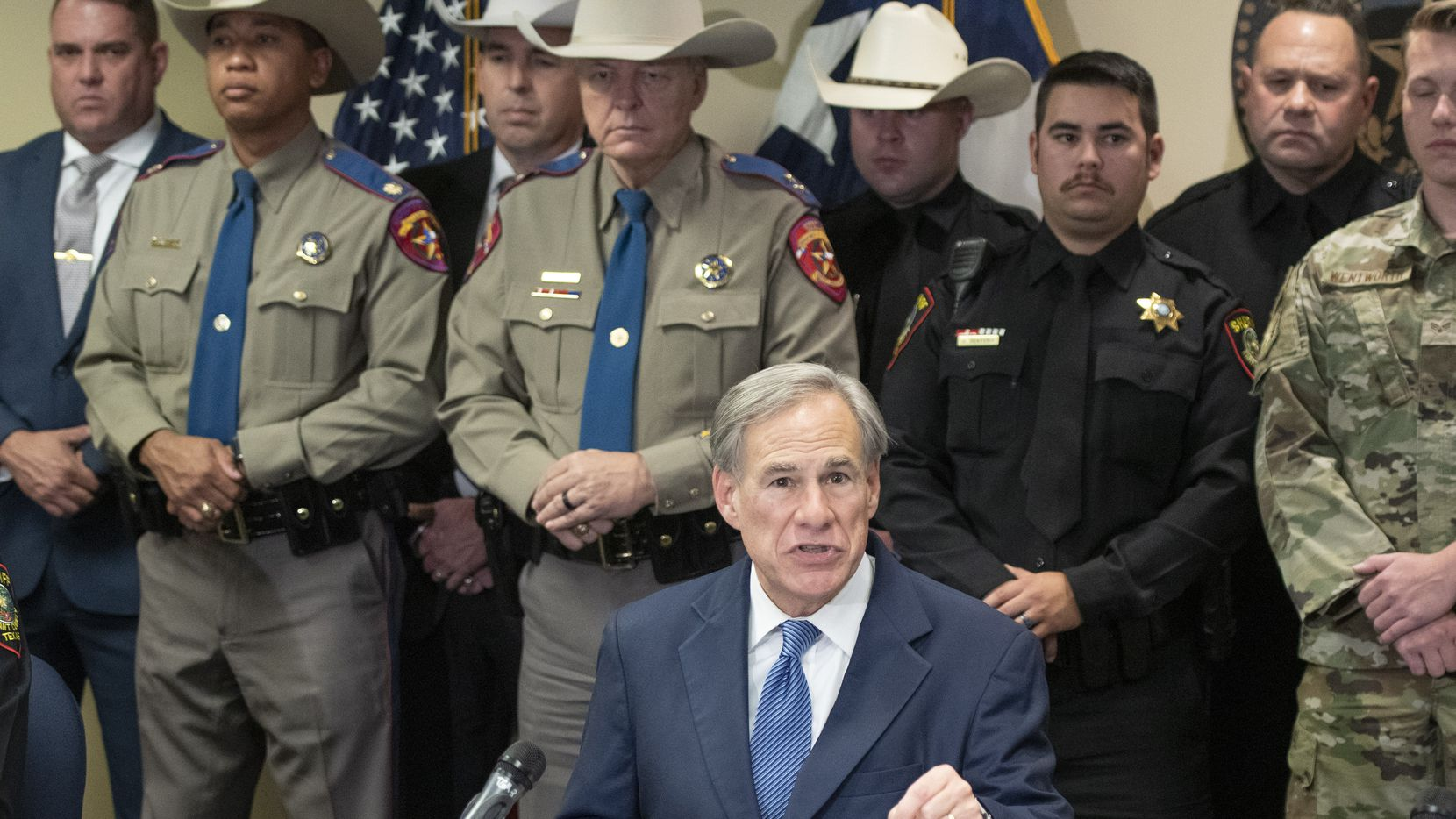 Texas Governor Greg Abbott addresses the media during a May 27, 2021 press conference at the Tarrant County Sheriff's office in Fort Worth, Texas to provide an update on the state's effort to secure the border and prevent the smuggling of dangerous drugs into Texas. (Robert W. Hart/Special Contributor)