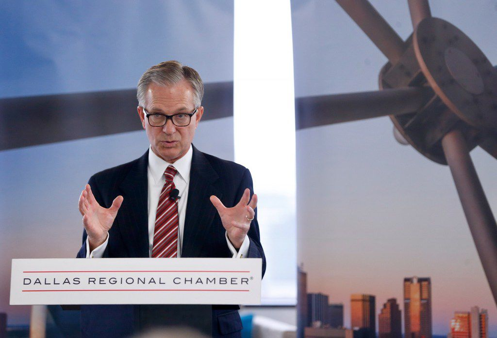 Dale Petroskey, President & CEO of dallas Regional Chamber speaks about the lost Amazon bid during a press conference at the Dallas Regional Chamber office in Dallas, on Tuesday, November 13, 2018. (Vernon Bryant/The Dallas Morning News)