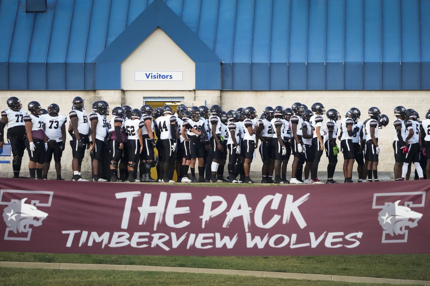 Mansfield Timberview wait to take the field before facing Waco University in a high school football game at Waco ISD Stadium on Friday, Oct. 8, 2021, in Waco, Texas.