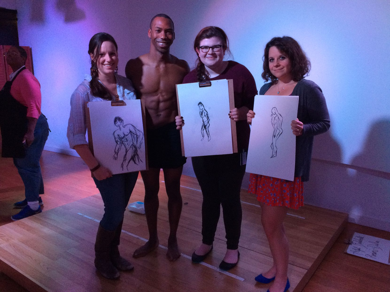 From left: Tiney Ricciardi, master male model Kenny, Hannah Wise and Brentney Hamilton.