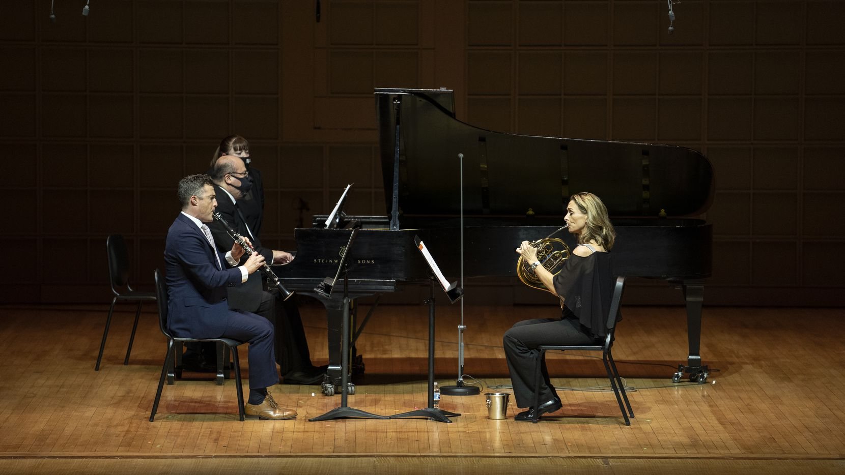 Stephen Ahearn (clarinet), Gabriel Sanchez (piano) and Haley Hoops (horn) perform the world premiere of Stacy Garrop's 'Slipstream' during the Women in Classical Music Chamber Concert at the Meyerson Symphony Center in Dallas on Nov. 9.
