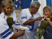 In this 2014 file photo, Roberto Aguilar (left to right) Lydia Aguilar, Ralph Delgado and Mary Delgado enjoy Pina Colada Smoothies at the State Fair of Texas.