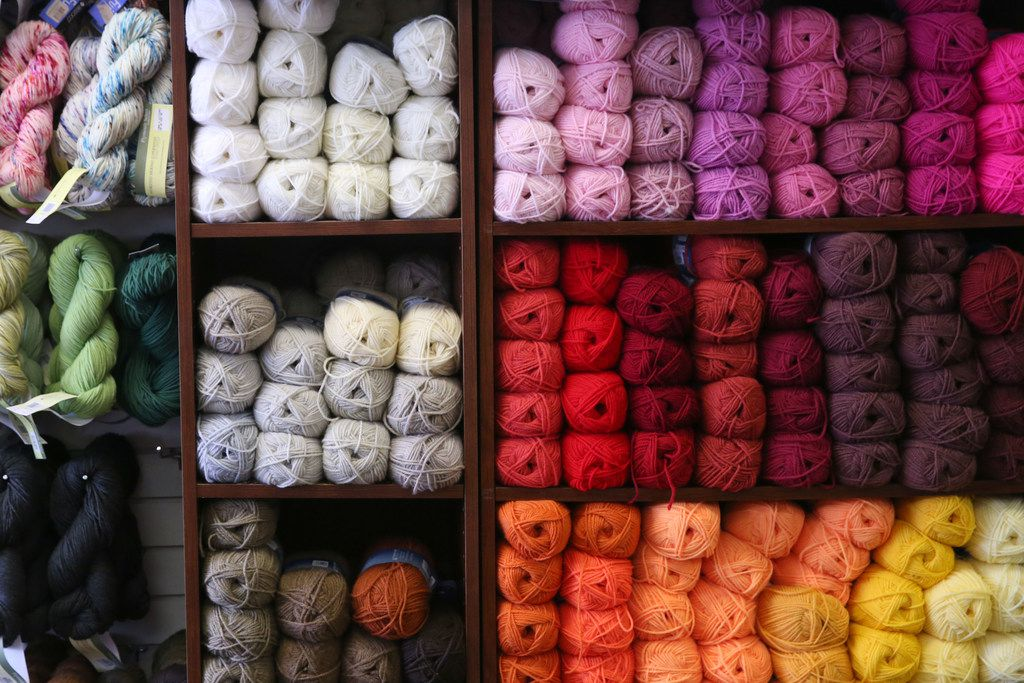 Yarn for sell at Yarn and Stitches, a knitting store, located at 15615 North Coit Rd. in Dallas on Oct. 20, 2018.