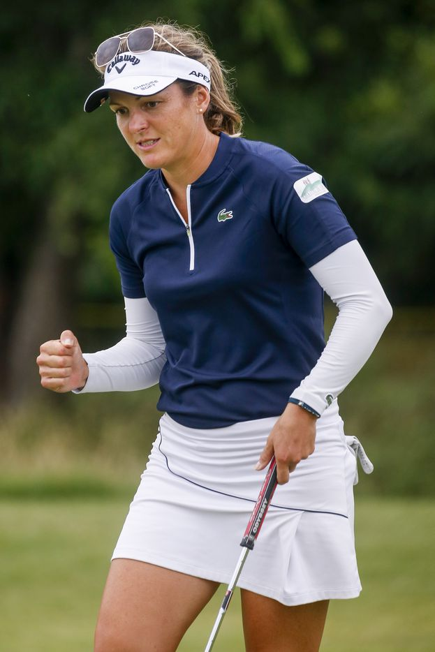 Professional golfer Celine Herbin celebrates a birdie on the No. 12 during the third round of the LPGA VOA Classic on Saturday, July 3, 2021, in The Colony, Texas. (Elias Valverde II/The Dallas Morning News)