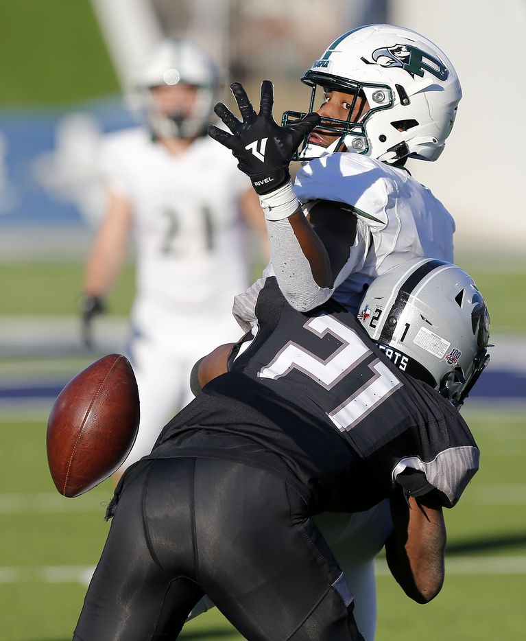 Denton Guyer High School defensive back Ryan Yaites (21) breaks up a pass intended for Prosper High School wide receiver Tyler Bailey (8) in the third overtime as Prosper High School played Denton Guyer High School in the Class 6A Division II, Region I final at McKinney ISD Stadium in McKinney on Saturday, January 2, 2021.  (Stewart F. House/Special Contributor)