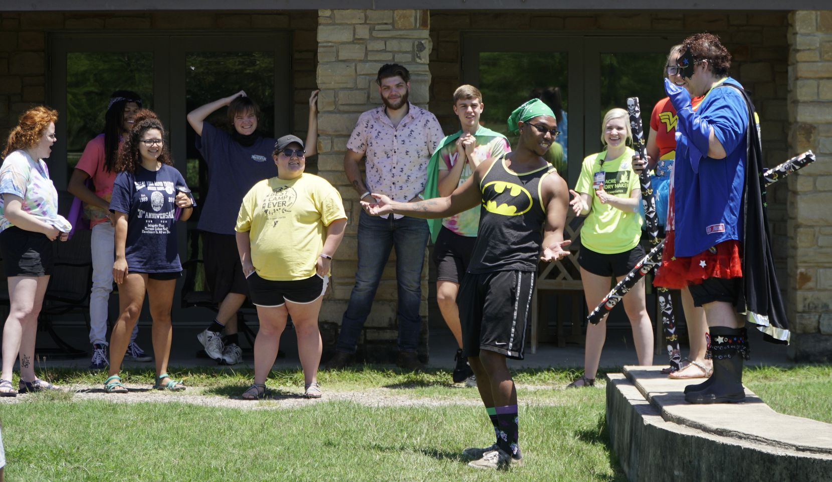 """Jonte Davis, a staff member at the YMCA's Camp Carter in Fort Worth, gets his camp name """"Maui"""" during training for the upcoming day camp season. Overnight camps are out this year, owing to the challenges of adhering to coronavirus safety protocols such as social distancing and facilities cleaning."""