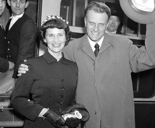 Evangelist Billy Graham arrives in London on May 11, 1955, with his wife, Ruth.  Ruth Graham, who surrendered dreams of missionary work in Tibet to marry a suitor who became the world's most renowned evangelist, died on June 14, 2007, at 87.