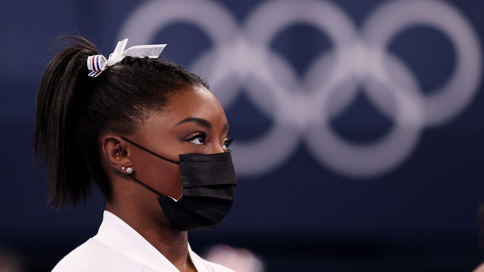 Team USA gymnast Simone Biles looks on during the women's team final at the Tokyo Olympics on July 27.