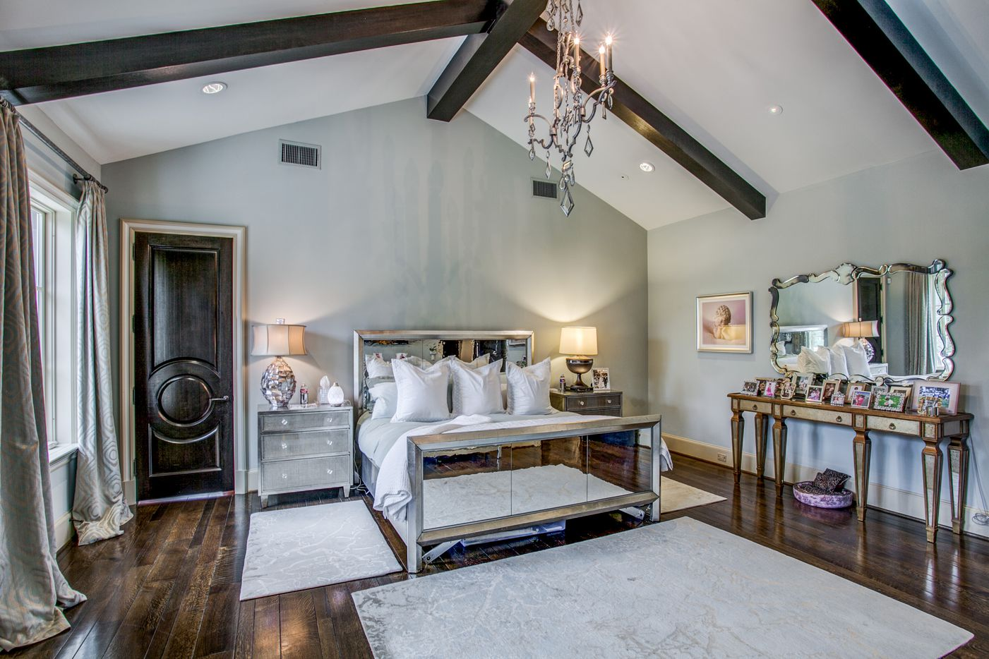 A look at the master bedroom of the Dallas home Kameron Westcott is selling.