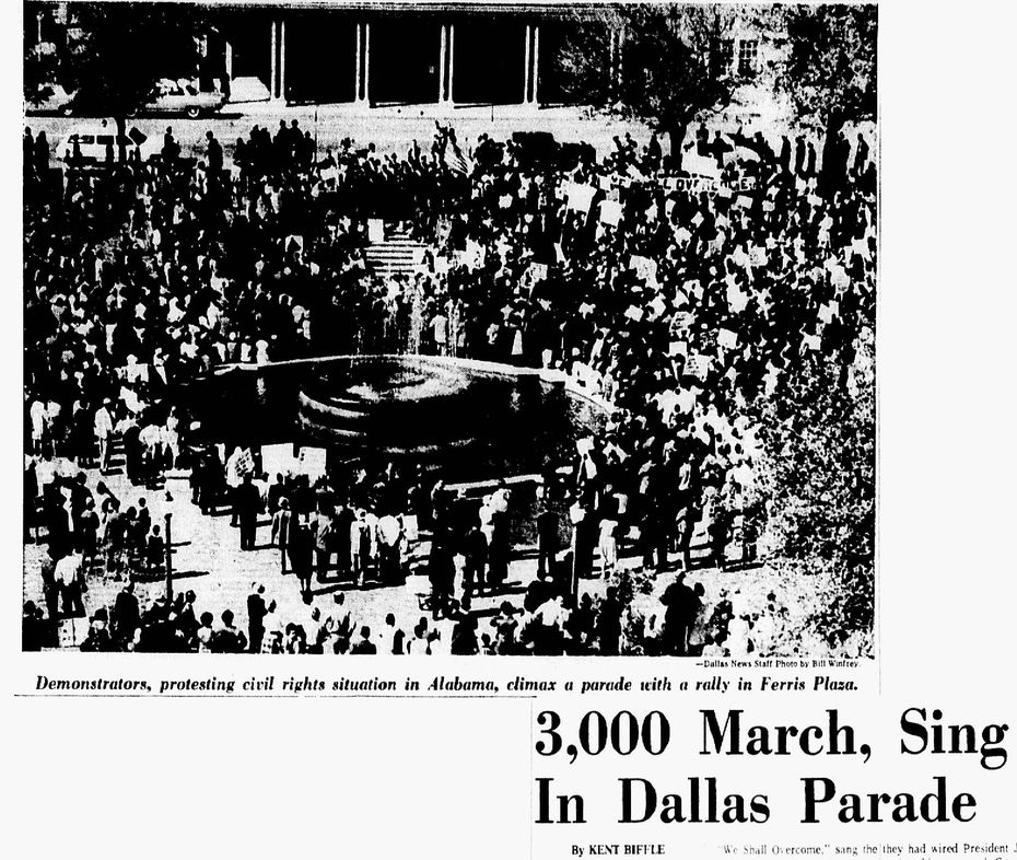 """""""3,000 march, sing in Dallas parade"""" published March 15, 1965."""