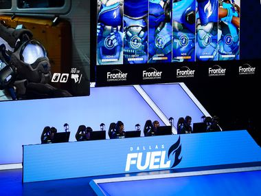 From left, Dallas Fuel players Kim ÒDoHaÓ Dong-ha, Jang ÒDecayÓ Gui-un, Noh ÒGamsuÓ Youngjin, Lucas ÒNotEÓ Meissner, William ÒCrimzoÓ Hernandez and Wonsik ÒCloserÓ ÒJung compete during a Overwatch League match against the Los Angeles Valiant at the Arlington Esports Stadium on Saturday, Feb. 8, 2020, in Arlington.
