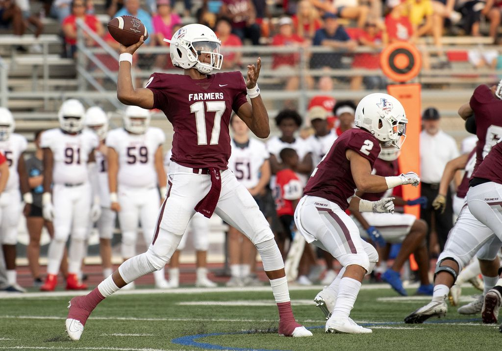 Lewisville junior quarterback Taylen Green (17) throws a pass in the first half of a high school football game against McKinney Boyd on Friday, September 13, 2019 at Max Goldsmith Stadium in Lewisville.