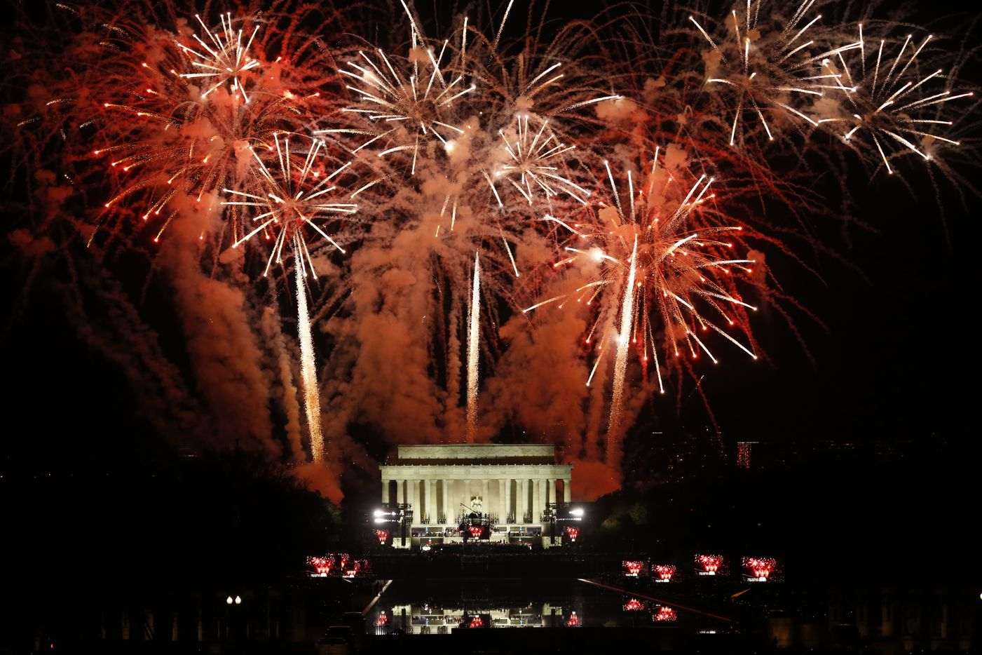 Fireworks explode over the Lincoln Monument in Washington, D.C., after a public concert and appearance by President-elect Trump on Thursday, Jan. 19, 2017.