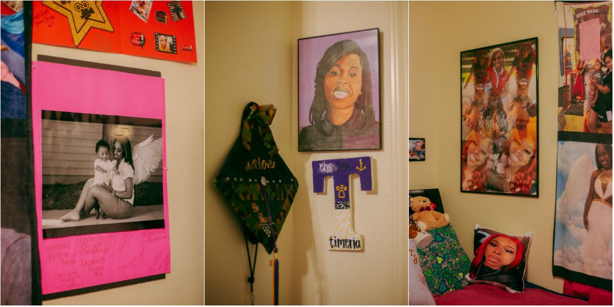 Images from Timeria Jones' bedroom. While growing up, Jones took part in gymnastics, cheerleading, dance, volleyball and track. She loved to sing and record Snapchat videos with her mom, family said.
