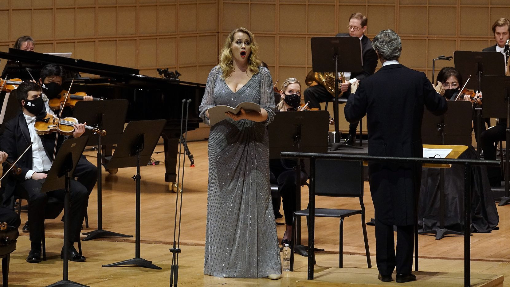 Soprano Rachel Willis-Sørensen performs with the Dallas Symphony Orchestra at the Meyerson Symphony Center on Feb. 25, 2021.