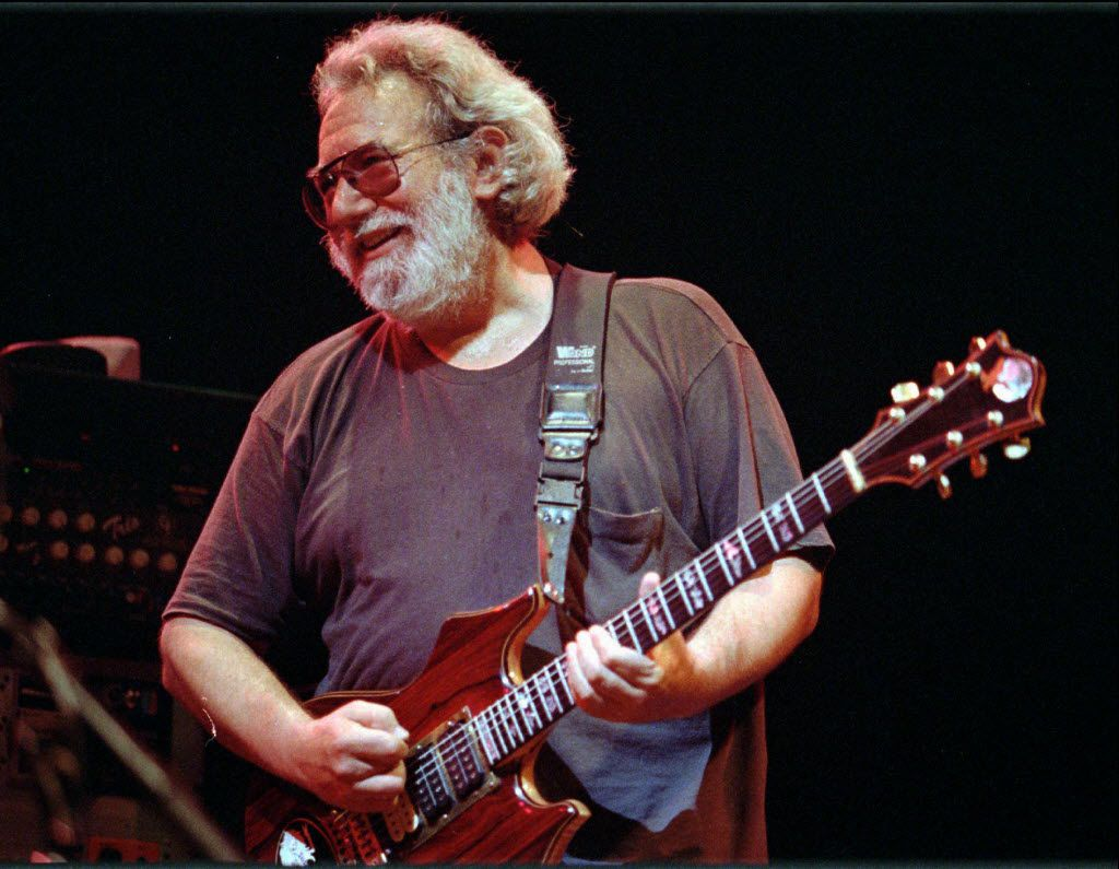 This Nov. 1, 1992 file photo shows Grateful Dead lead singer Jerry Garcia performing in Oakland , Calif.