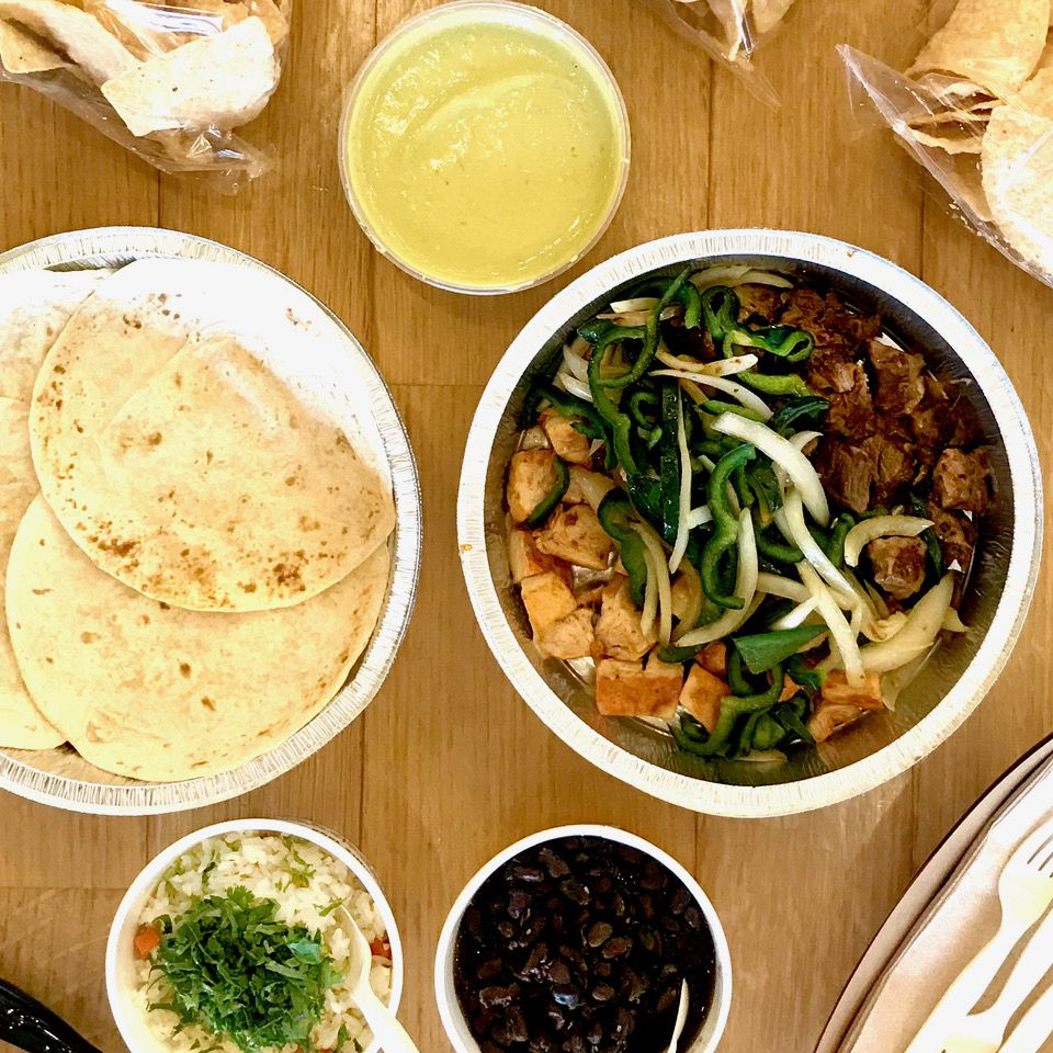 Tacodeli offers a Fundido family meal pack that includes 1 pound of Fundido taco filling, 12 ounces of black beans, rice, 10 tortillas, tortilla chips, and 8 ounces of your choice of salsa.