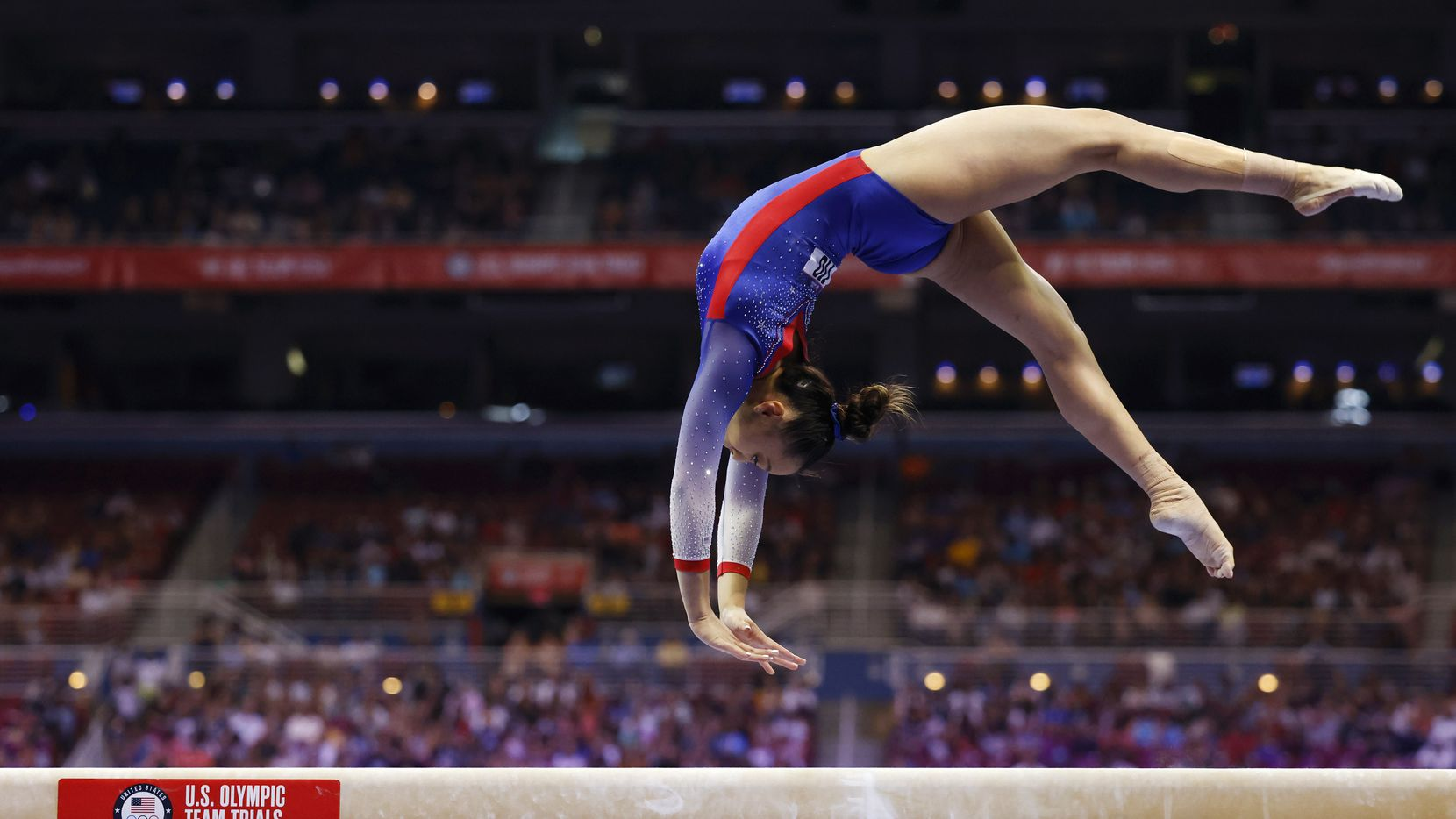 Emma Malabuyo of Texas Dreams competes on the balance beam during day 1 of the women's 2021 U.S. Olympic Trials at America's Center on Friday, June 25, 2021 in St Louis, Missouri.