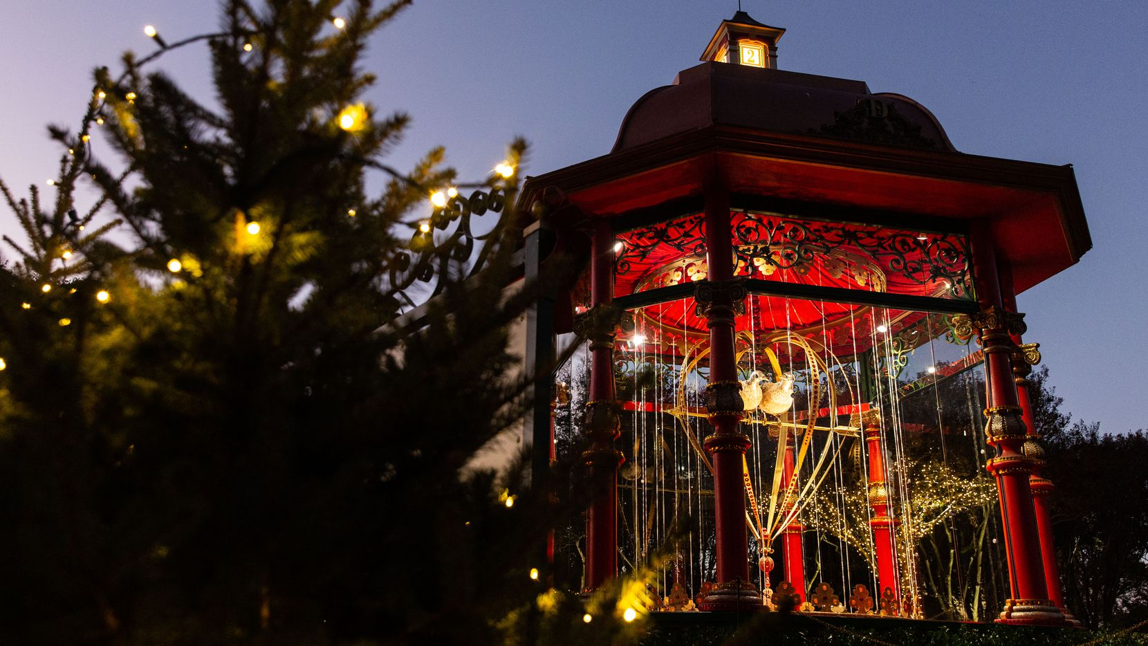 """The Dallas Arboretum's """"The 12 Days of Christmas"""" display is now open for day and nighttime viewing."""
