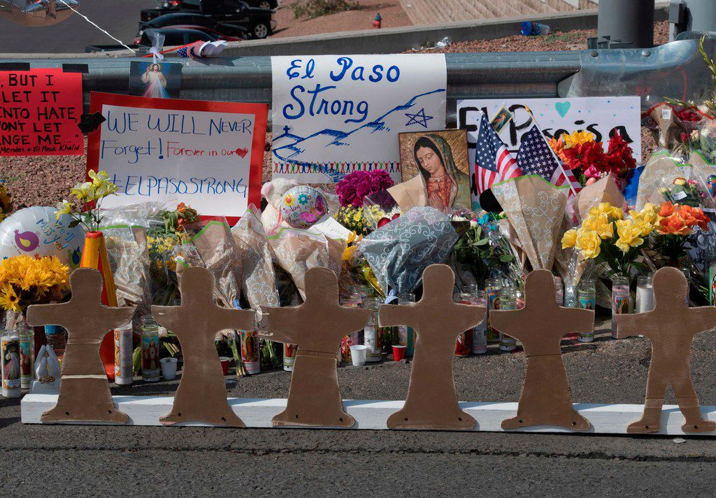 Crosses at a makeshift memorial are seen after the shooting that left 22 people dead at the Cielo Vista Mall WalMart in El Paso, Texas, on August 5, 2019.