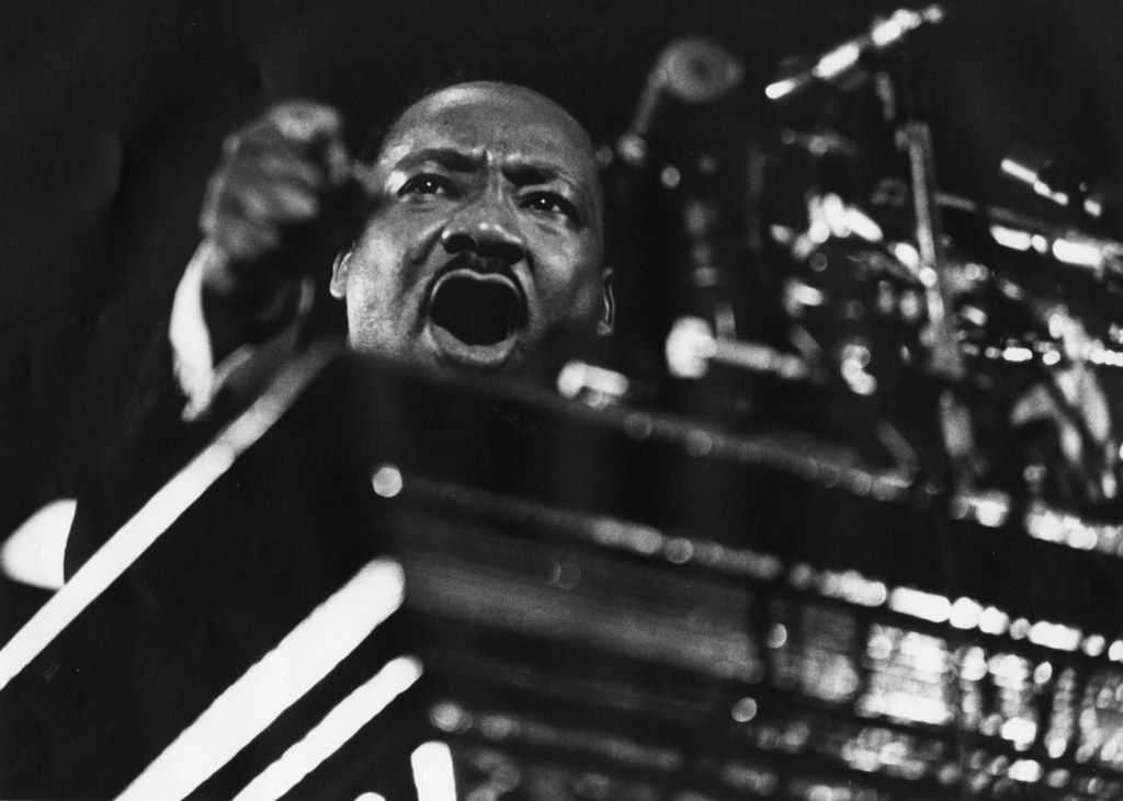 Martin Luther King Jr. speaking at Vermont Avenue Baptist Church in Washington in 1968. MUST CREDIT: Washington Post photo by Matthew Lewis.