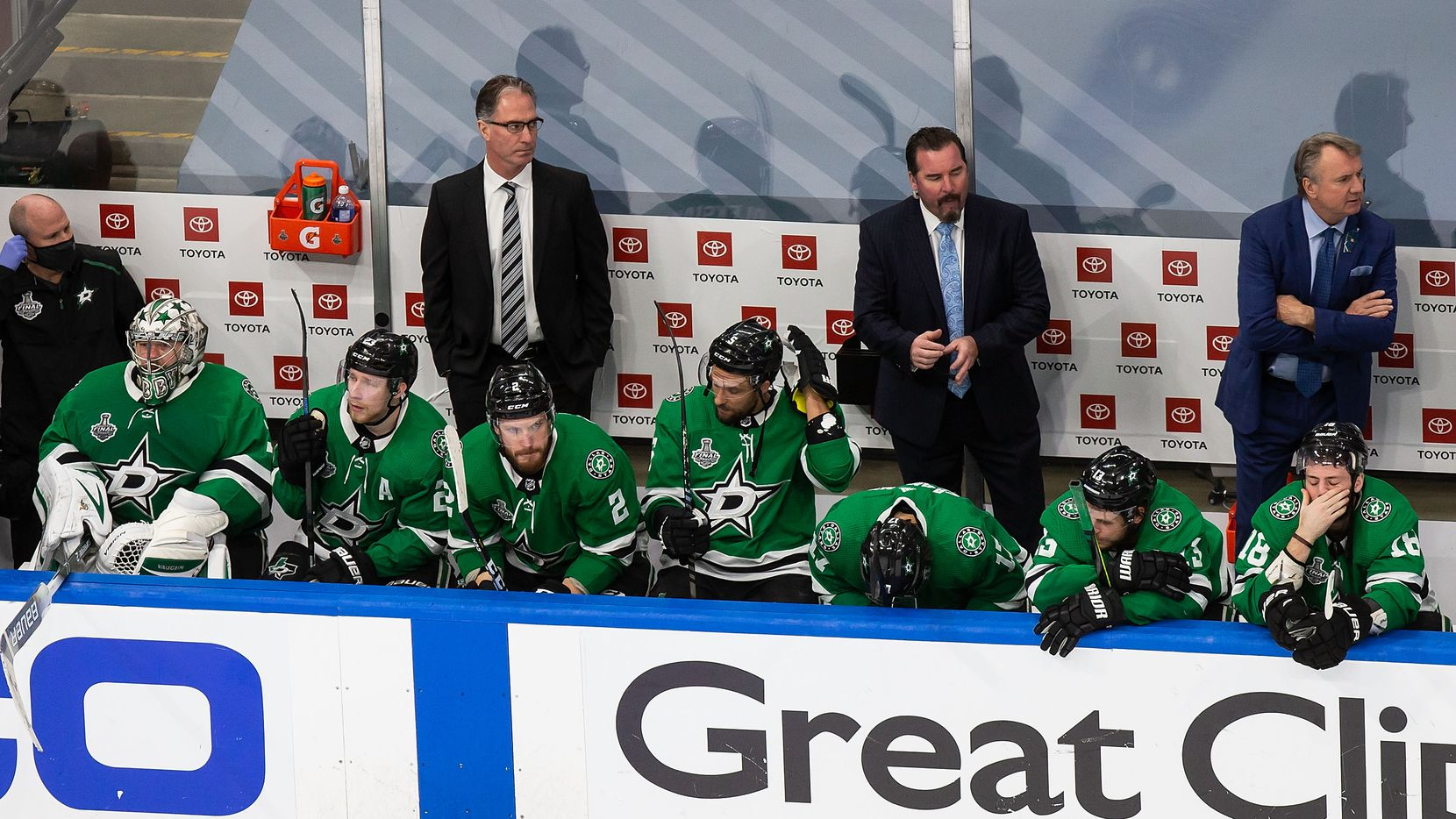The Dallas Stars react to their loss against the Tampa Bay Lightning during Game Six of the Stanley Cup Final at Rogers Place in Edmonton, Alberta, Canada on Monday, September 28, 2020.