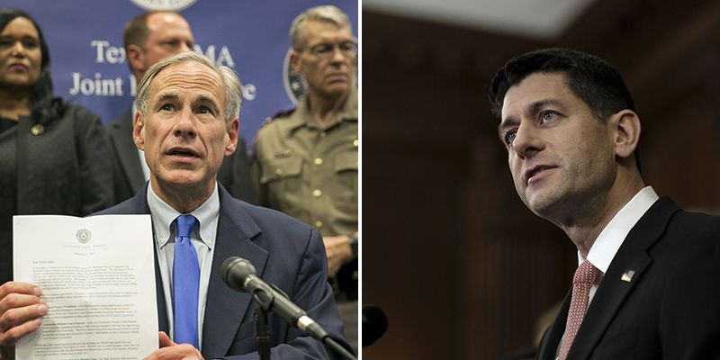 After Texas Gov. Greg Abbott blamed Texas lawmakers for a disaster relief bill that omitted special Harvey aid, rattled members sought help from above: Speaker Paul Ryan. (Jay Janner/Austin American-Statesman; Gabriella Demczuk/The New York Times)