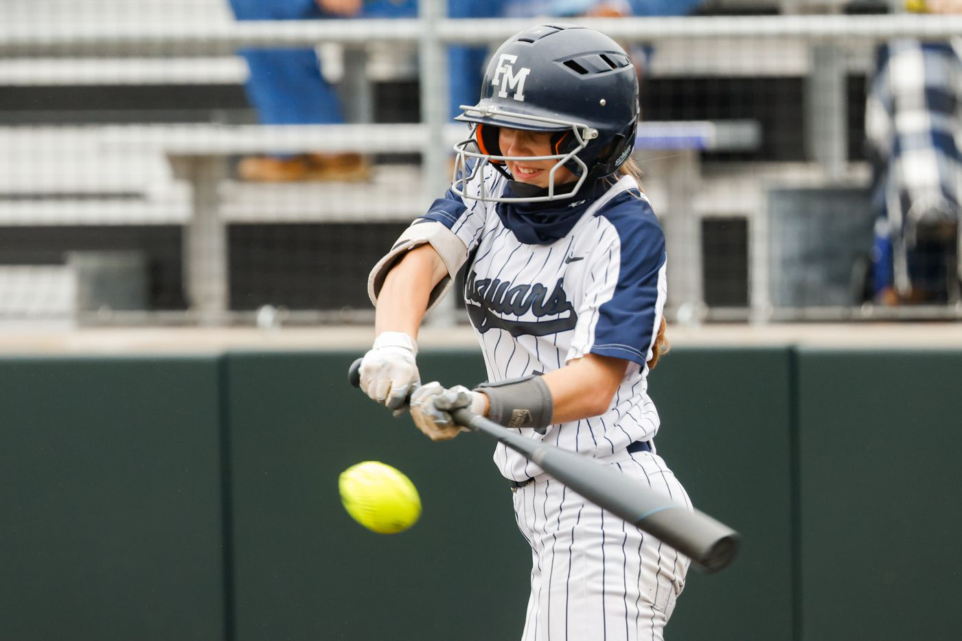 Flower Mound's Logan Halleman (7) hits a home run against McKinney Boyd during the first inning of a Class 6A bi-district playoff game on Friday, April 30, 2021, in Denton. (Juan Figueroa/The Dallas Morning News)