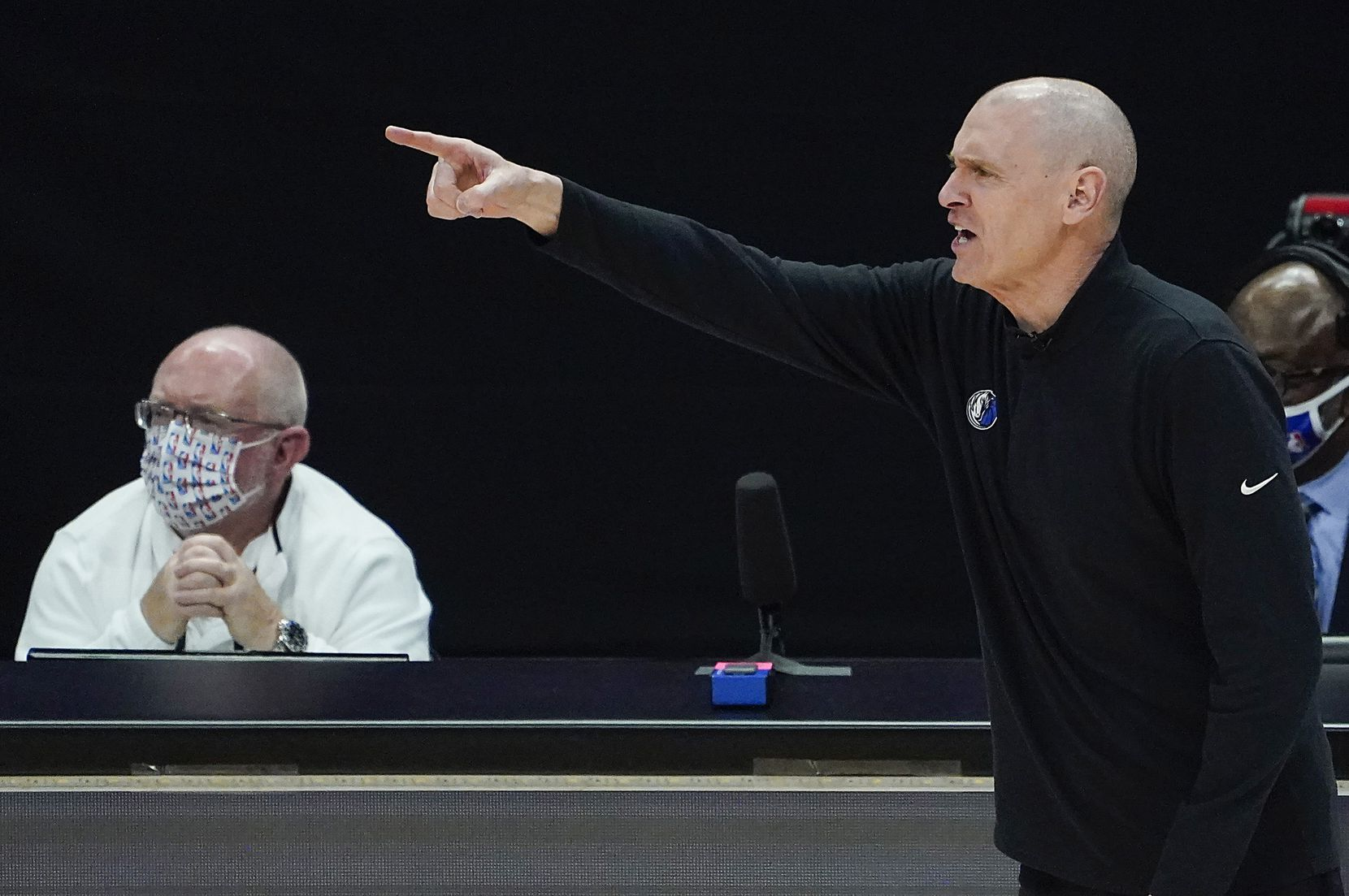 Dallas Mavericks head coach Rick Carlisle directs his team during the third quarter of an NBA playoff basketball game against the LA Clippers at the Staples Center on Wednesday, June 2, 2021, in Los Angeles.  (Smiley N. Pool/The Dallas Morning News)