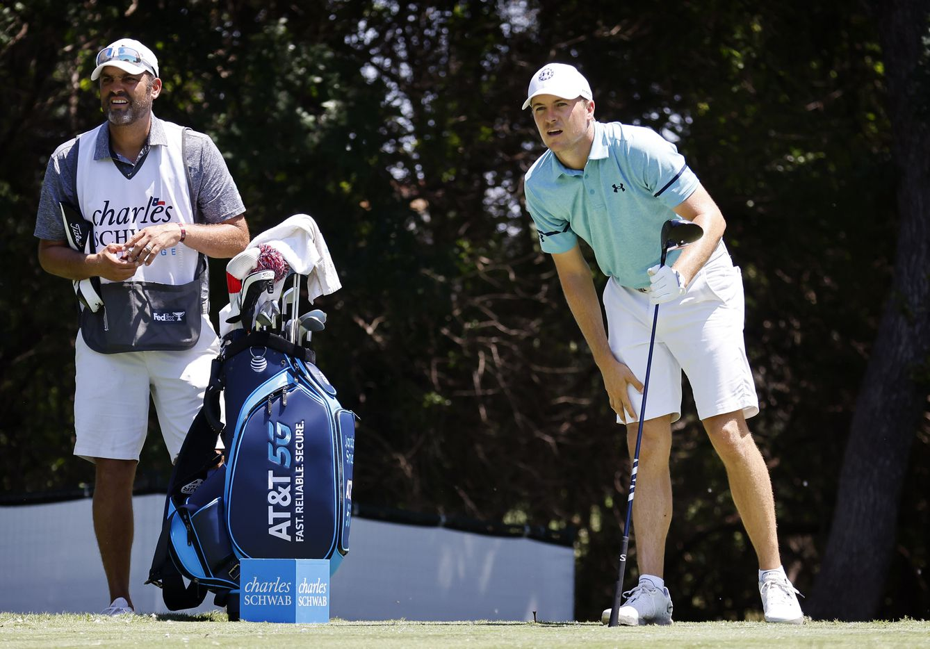 Golfer Jordan Spieth watches his tee shot on No. 12 during his Charles Schwab Challenge Colonial Pro-Am round at the Colonial Country Club in Fort Worth, Wednesday, May 26, 2021. (Tom Fox/The Dallas Morning News)
