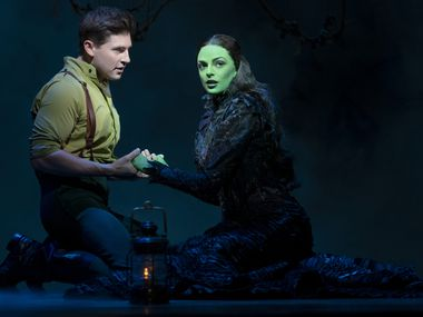 """Curt Hansen, left, and Talia Suskauer star in the Broadway touring production of """"Wicked,"""" which runs through Sept. 5 at the Music Hall at Fair Park, presented by Dallas Summer Musicals. It's the first Broadway show to hit the road since the pandemic, and Dallas is the first stop."""