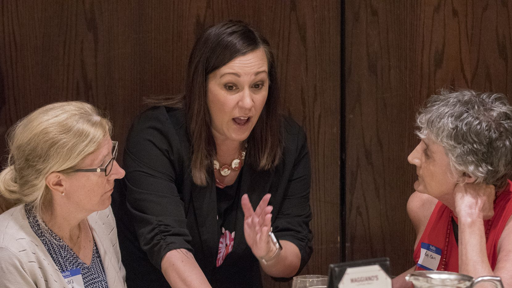 U.S. Senate candidate MJ Hegar speaks with attendees at the Dallas County Democratic Party luncheon where she was a guest speaker on July 24, 2019, at Maggiano's Little Italy restaurant at Northpark Center in Dallas.
