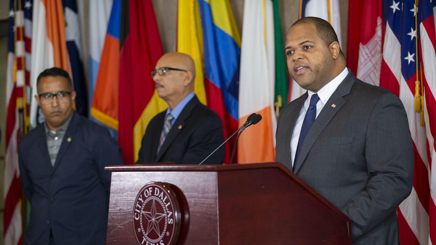 Mayor Eric Johnson speaks about declaring a local state of disaster during a press conference at City Hall on March 13, 2020 in Dallas. Mayor Eric Johnson on Thursday, March 12, issued a proclamation declaring a local state of disaster in response to evidence of community spread of the new coronavirus within the City of Dallas.