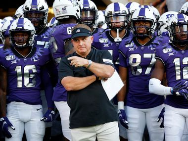 TCU Horned Frogs head coach Gary Patterson gathers his players at the tunnel before facing the Arkansas-Pine Bluff Golden Lions  at Amon G. Carter Stadium in Fort Worth Texas, Saturday, August 31, 2019. (Tom Fox/The Dallas Morning News)